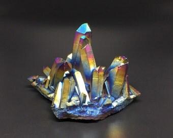 Large Titanium Rainbow Quartz Cluster Rainbow Titanium Crystal Cluster Decor Stone Mineral Specimen Healing Quartz wiccan altar CD-16