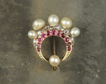 Antique Victorian 9 Carat Gold Pearl & Ruby Lace Pin c1880