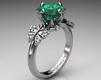 Nature Inspired 14K White Gold 2.5 Ct Princess Emerald Diamond Leaf and Vine Butterfly Engagement Ring Wedding Ring R1036-14KWGDEM