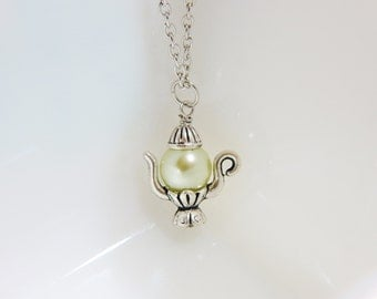 Teapot necklace, tea party jewelry, teapot charm, pearls necklace, personalized teapot charm necklace, pearls jewelry