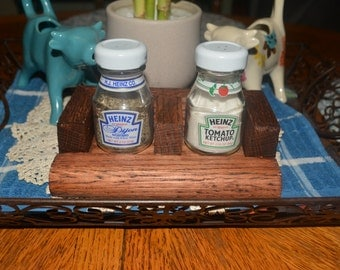 Heinz Ketchup and Dijon Mustard salt and pepper shakers with oak holder