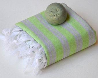 TURKISH TOWEL - PESHTEMAL  turkish blanket Beach Towel  Thin and Light  Fouta Towel  Guest Towel  Spa Pool  Gift Idea Purple - Green