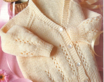 PDF Knitting Pattern Baby easy knit cardigan in DK wool and fits 18-22 chest