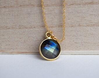 Labradorite necklace, gold vermeil bezel Labradorite, gemstone jewelry, 14k gold filled chain, gift ideas for her, Transformation
