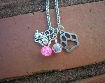 Cat & Paw Print Necklace