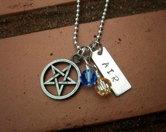 Pentagram & Air Element Necklace w/Swarovski Crystal