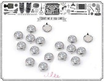25SET 8MM CZECH CRYSTAL Rhinestones on SILVER prong studs Diamond studs supplies.
