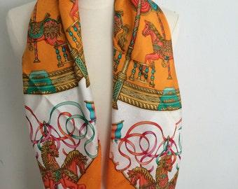 Hermes Orange & White Silk Jacquard Luna Park Scarf