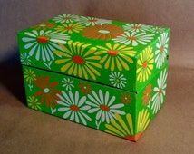 Groovy vintage daisy recipe box - metal with neon day-glo flowers in green white yellow orange - cute kitchen decor, in great shape
