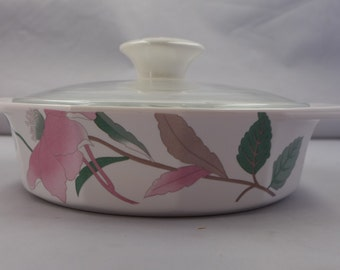 "Vintage  Marked ""MIKASA"" Silk Flower Pattern Covered Bowl"
