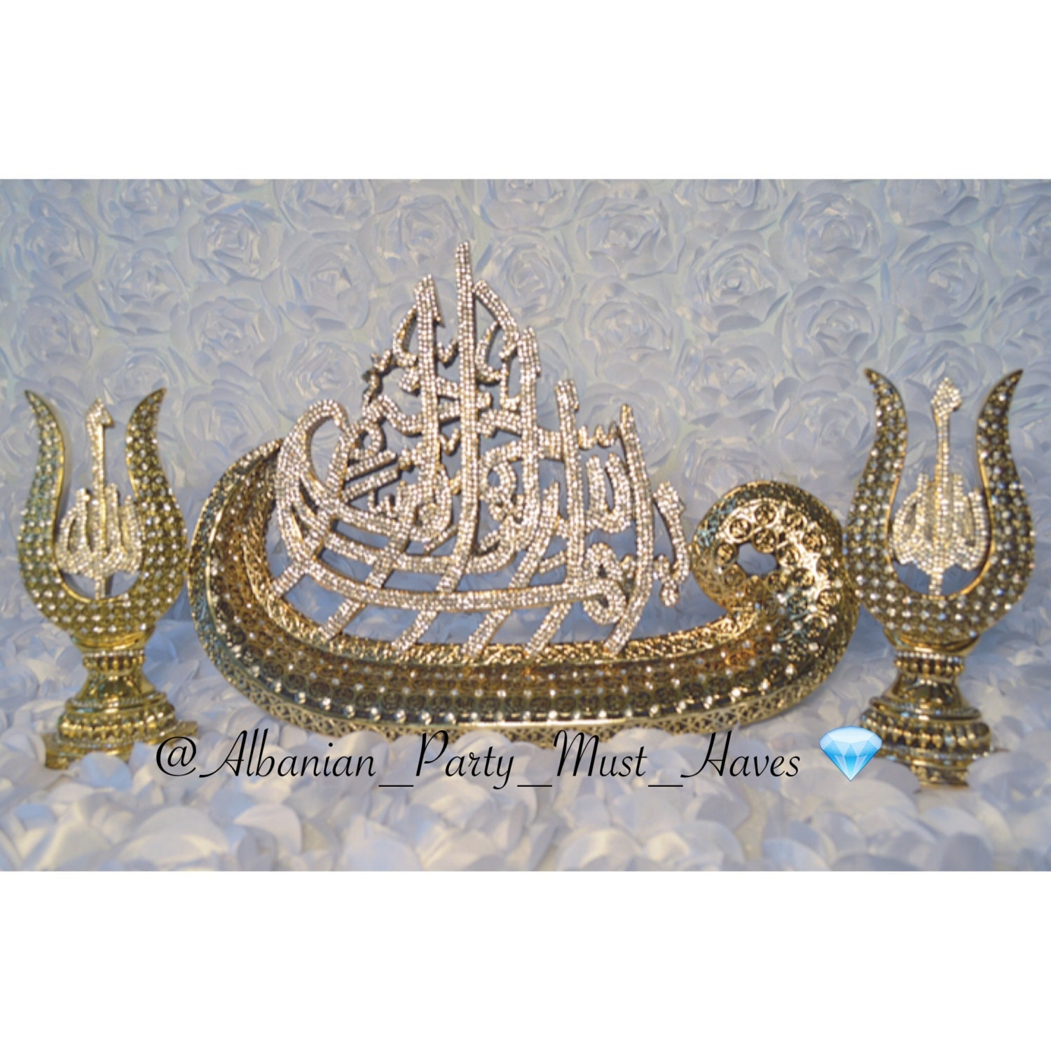 crystallized islamic decor set bismillah with 99 names of