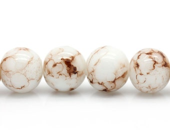 20 White with Brown Mottled Glass Beads | 10mm