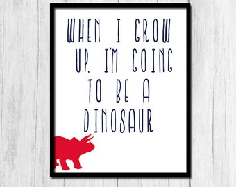 Whimsical Art Printable Art Whimsical Kids Art Navy Blue and Red Poster Kids Room Poster Boy's Room Wall Art Dinosaur Printable Digital Art