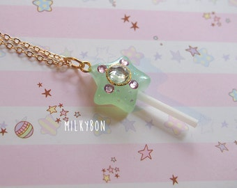 Magical Girl Mint Green Crystal Star Fairy Wand Necklace