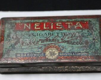 """Tin Box """"Nelista"""" Cigarettes, ca. 1890 - very rare!"""