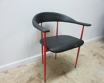 Vintage Mid Century Metal Danish Modern Barrel Arm Chair A