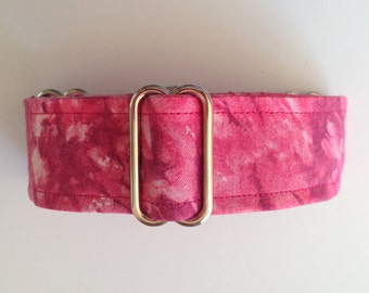 Stylish Whippet Martingale Collar 1.5 Inch Pink Tie Dye with Silver Hardware