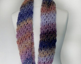 Infinity Scarf Versatile Multicoloured Lacy Double Length Cowl Snood Circle Scarf Loop Scarf Neck Warmer Purple Pink Orange Yellow hand knit