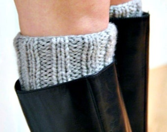 Hand Knit Chunky Boot Cuffs Leg Warmers THE STRATHAM Boot Warmers