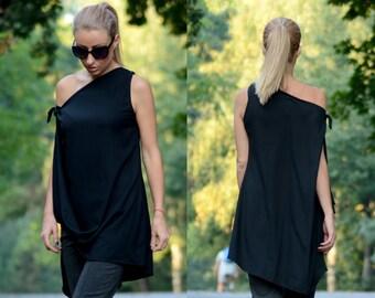 Black Minimalist / Black Maxi Tunic / Asymmetric Tunic / One Shoulder Top / Cape Top / Maxi Tunic / Sleeveless Tunic / Drape Top/Loose Dress