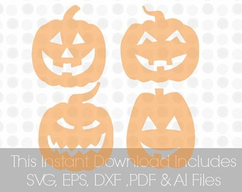 Pumpkin Faces, SVG, Pdf, DXF, EPS, Ai, , Vinyl cutting file   Silhouette Cameo Designer Edition & Cricut Design Space,