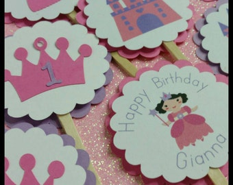 12 Princess themed Cupcake  Toppers, Royalty Cupcake Toppers