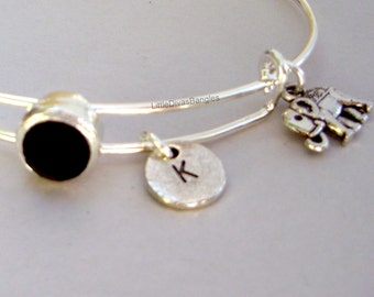 Rhinestone Crystal / Elephant Charm W/ Initial Adjustable Bangle / Bracelet Stackable Bangles / Gift For Her / Under Twenty Usa  BS1