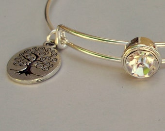 Rhinestone Crystal W/ Tree of life Charm Adjustable Bangle / Bracelet Stackable Bangles / Gift For Her / Under Twenty Usa BS1
