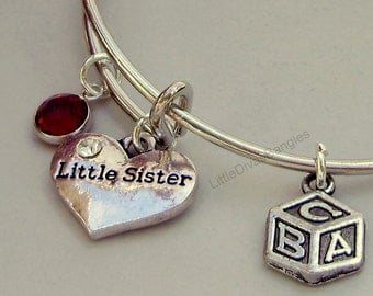 Girls -  Little Sister / BABY Block Charm Bangle  W/ Birthstone / Initial Charms New Mothers  Gift For Her Usa NM1