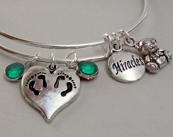 New Mothers / TWINS  Teddy Bear / Miracles CHARMS / Bangle  W/ Birthstones / New Mother / Gift For Her  Usa TW1