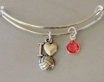 I LOVE Volleyball / Bangle Bracelet  W/ A Birthstone   Charm Drops / Under Twenty - Gift For her - S1