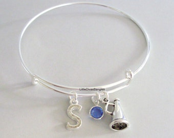 Megaphone CHEERLEADER Bangle Bracelet  W/ A Birthstone - Initial / Girls Sports /  Under Twenty / Sports Team Gift  For Her USA  SC1