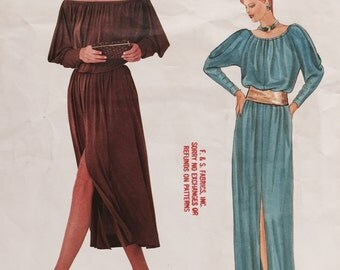 Vintage 1970s Vogue Paris Original 1045 Christian Dior Sewing Pattern Pullover On or Off the Shoulder Gown Size 10