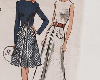 Vintage 1970s Vogue 8265 A-line Dress Sewing Pattern Two Versions Size 14 1/2 Uncut