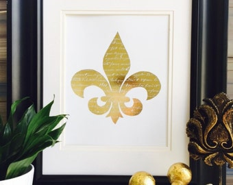 Gold Foil Print, Fleur De Lis Wall decor, wall Art, New Orleans, French art prints, Home Decor