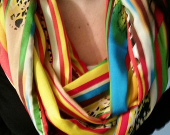Bright multicolored stripes with animal print chiffon infinity scarf