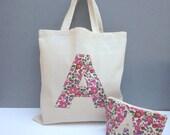 Liberty Print Applique Tote bag/Personalised Tote/Bridesmaids gift tote/monogram tote/initial calico bag/project bag/maid of honour tote