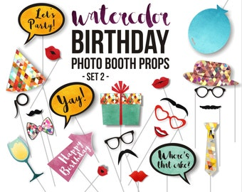 Birthday PRINTABLE Photo Booth Props, Party Props, 24 Piece watercolor props, Set 2
