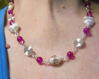Wire Wrapped Heart Necklace, Jewelry, Lampwork beads, foil beads, Silver Swirls, Earrings