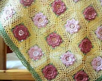 Crochet Rose Cotton Baby Blanket.