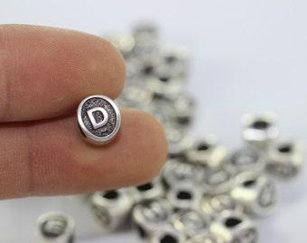 4 pcs Letter D antique silver alphabet beads 7.5x8.5mm - alphabet letters beads - initial charm beads - beads for European style bracelets