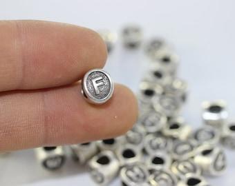 4 pcs Letter F antique silver alphabet beads 7.5x8.5mm - alphabet letters beads - initial charm beads - beads for European style bracelets
