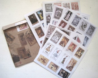 Vintage stamp sticker set
