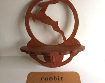 Vintage Wood Rabbit Shelf/Vintage Shelf/Vintage Decor/Vintage Folk Art Shelf/Vintage Decor