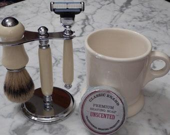 Ivory Shaving Set with Mug and Soap