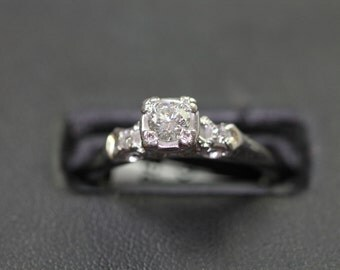 50% Off - Antique 18K Engagement Ring .25ct Center