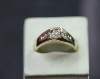 50% OFF! 14K Yellow Gold Men's Diamond Pinkie Ring