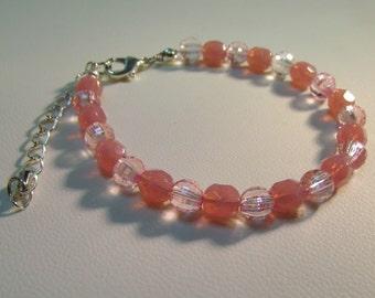 Pink & Clear Beaded Bracelet