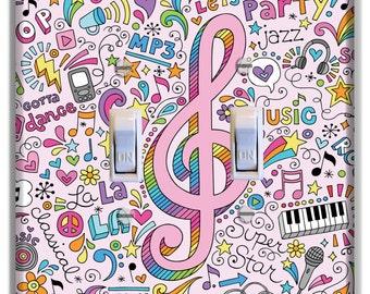 Light Switch Cover Music Note Pink Decor Kid Room Nursery Decor Baby Boy Girl Nursery Decoration