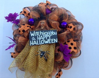 Witchy Deco Mesh Halloween Wreath,Witch Wreath,Deco Mesh Wreath